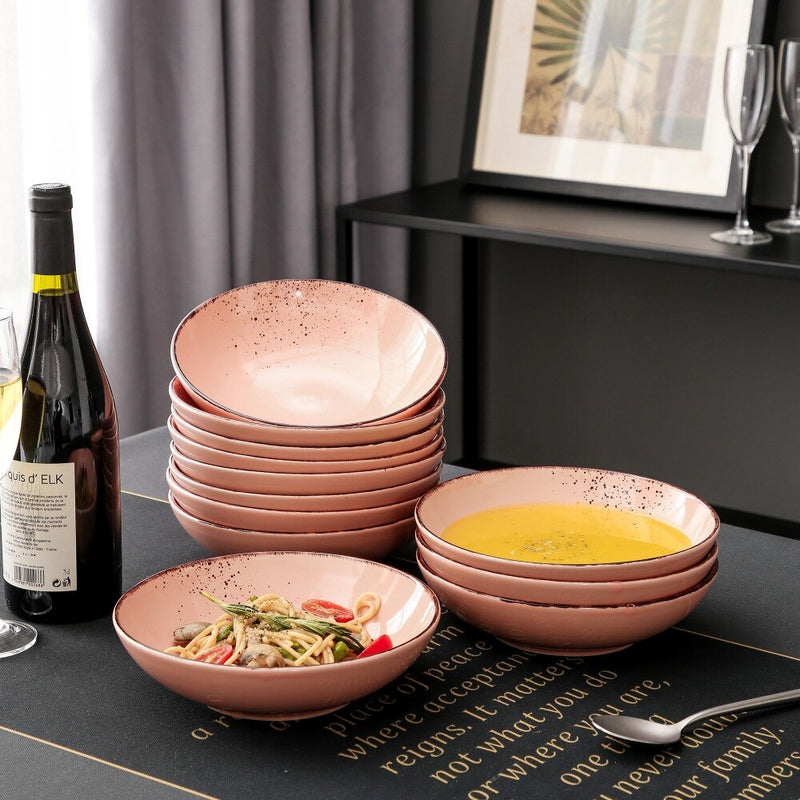 Vancasso Navia Peach 4/8/12 Pieces Vintage Look Natural Stoneware Ceramic Soup Plate Set 700ml - Home To Home Store