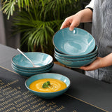 Vancasso Navia 4/8/12 Pieces Blue Vintage Look Natural  Stroneware Soup Plate Set 700ml - Home To Home Store
