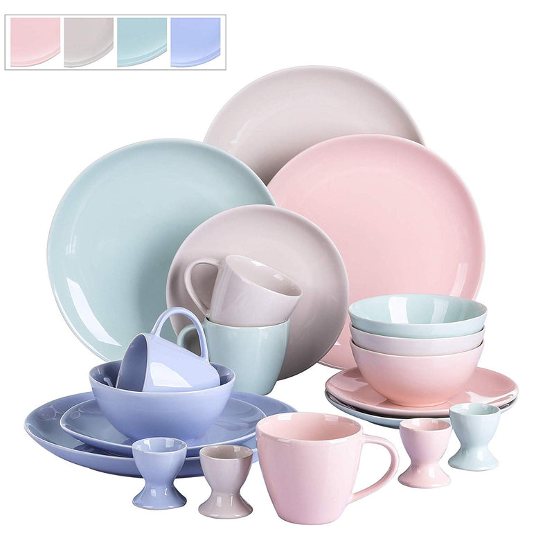 Vancasso Victoria 20-Piece Ceramic Porcelain Multi-Colour Glazed Dinnerware Set 4*Dinner/Dessert Plate,Cup&Saucer,Egg Cup Set - Home To Home Store