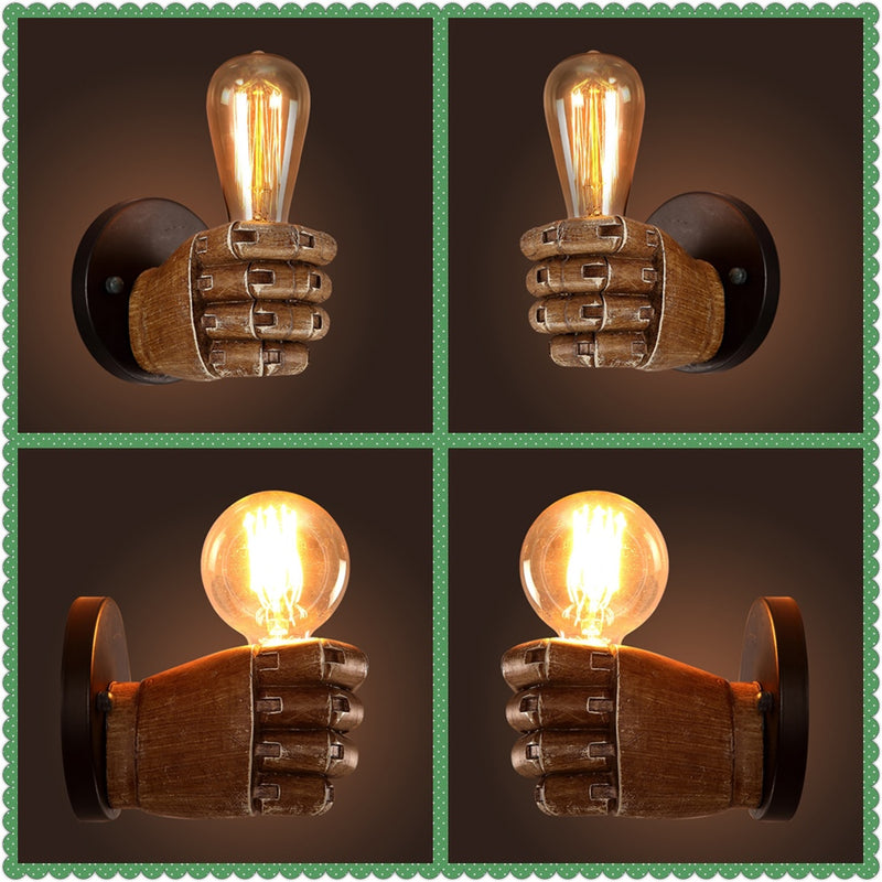 Retro Creative Fist Shape Wall Light E27 Lamp Holder Industrial Style Wall Lamp New Year Decoration for Home Bar Cafe Restaurant - Home To Home Store