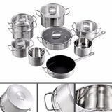 Velaze Cookware Set 14 Piece Stainless Steel Kitchen Cooking Pot & Pan Sets,Induction Safe, Saucepan, Casserole, with Glass lid - Home To Home Store