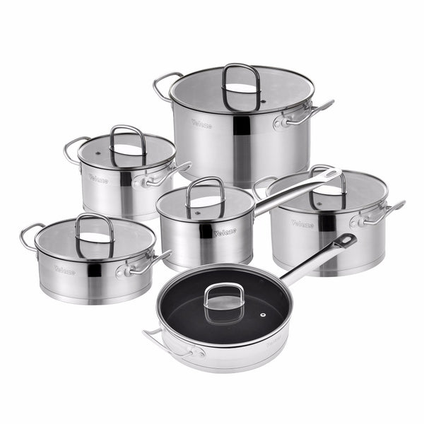 Velaze Cookware Set 12 Piece Stainless Steel Kitchen Cooking Pot&Pan Sets, Induction,Saucepan,Casserole,with Tempered Glass lid - Home To Home Store