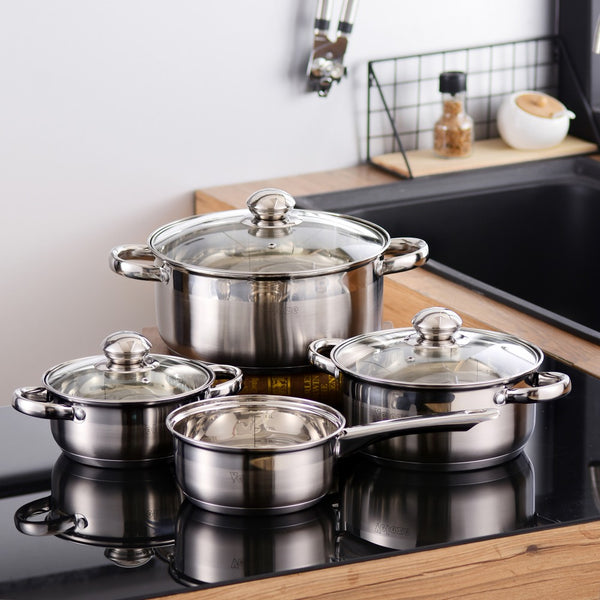 Velaze Cookware Set Stainless Steel 7-Piece Kitchen Cooking Pot&Pan Sets,Induction Saucepan,Casserole with Tempered Glass lid - Home To Home Store