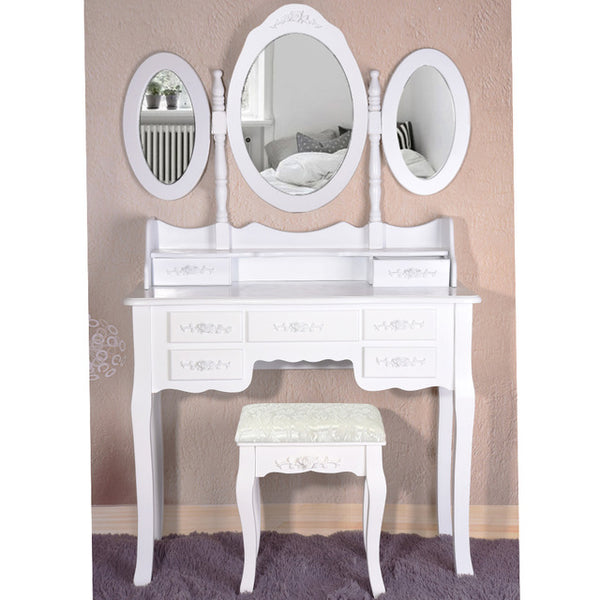 Makeup Dressing Table With Stool 7 Drawers Adjustable Mirrors - Home To Home Store