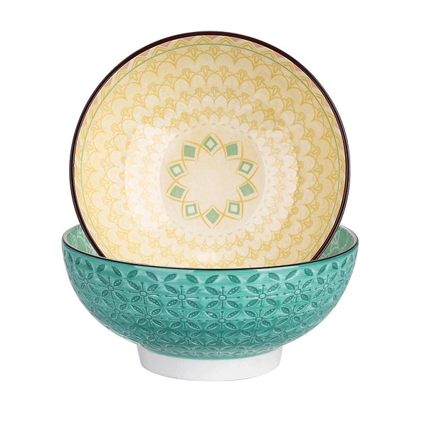 Vancasso Tulip 2-Piece Porcelain 1200ML Mandala Hand Painted Large Serving Bowl Ice Cream/Snack/Dip/Soup/Fruit/Noodle Bowl Set - Home To Home Store