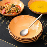 Vancasso Navia 4/8/12 Pieces Orange Vintage Look Natural Stroneware Soup Plate Set 700ml - Home To Home Store