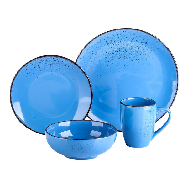 Vancasso Navia Dark Blue 4-Piece Vintage Look Stoneware Ceramic Dinner Set with 1*Dinner Plate,Dessert Plate,Bowl,350ML Mug - Home To Home Store