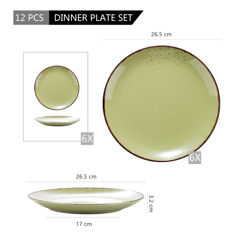 "Vancasso Navia Green 8/12-Piece Ceramic Stoneware 10.75"" Dinner Plate Set Vintage Look Salad/Fruit/Snack Tableware Plates Set - Home To Home Store"