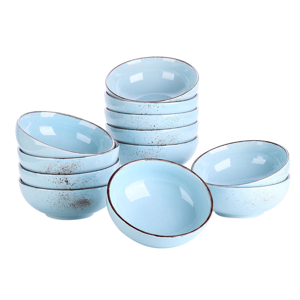 Vancasso Navia Oceano Blue 12-Piece 800ML Large Cereal Bowls Set Vintage Look Ceramic Soup/Mixing/Fruit/Noodle/Ramen Bowl - Home To Home Store