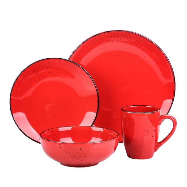 Vancasso Navia Red Vintage 4-Piece Ceramic Dinner Set with 1*Dinner Plate,Dessert Plate,Bowl,350ML Mug service for One person - Home To Home Store