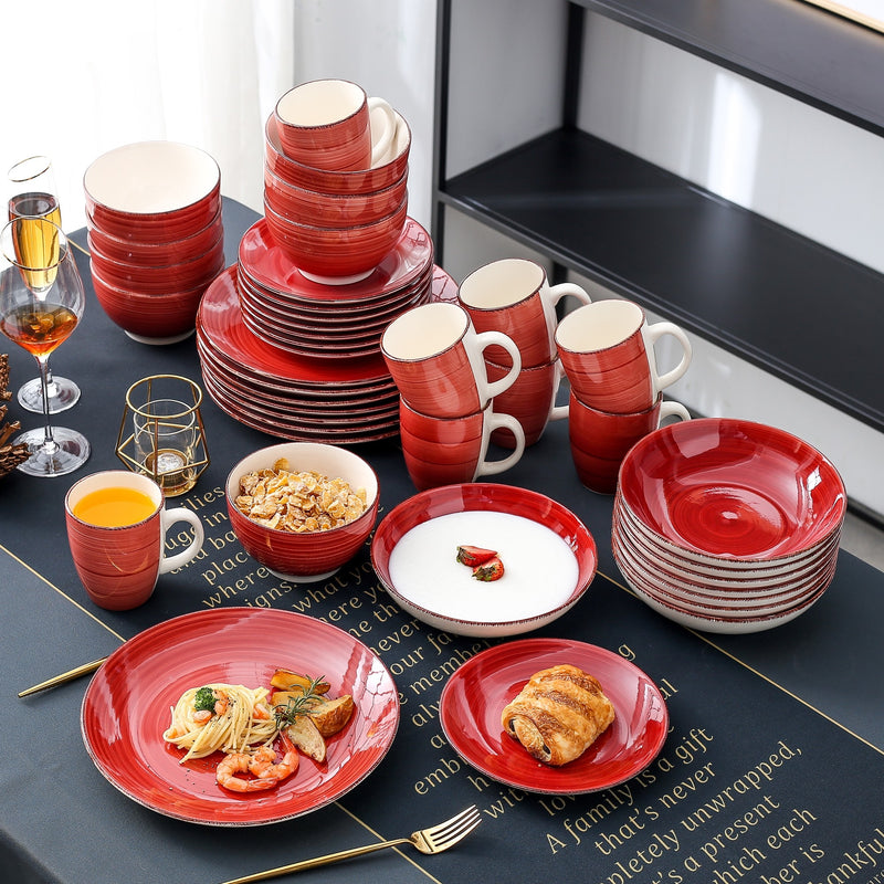 Vancasso Bella-R 40-Piece Porcelain Dinnerware Set with 8*Dinner Plate,Dessert Plate,Soup Plate,Bowl,Mug Set Service for 8Person - Home To Home Store