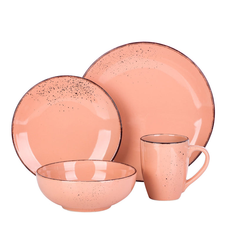 Vancasso Navia Pink Vintage 4-Piece Ceramic Dinner Set with 1*Dinner Plate,Dessert Plate,Bowl,350ML Mug service for One person - Home To Home Store