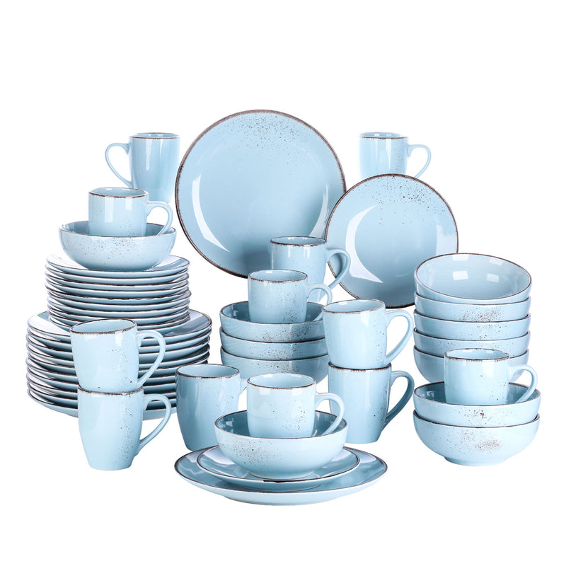Vancasso Navia Oceano Blue 48-Piece Ceramic Stoneware Dinner Plates Set with 12*Dinner Plate,Dessert Plate,800ml Bowl,380ml Mug - Home To Home Store