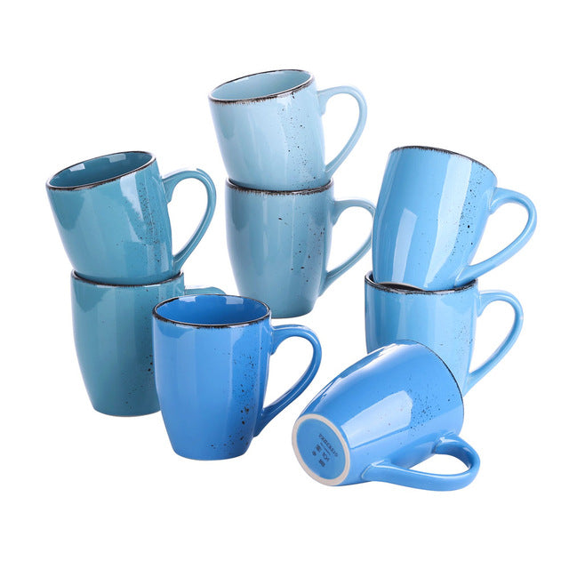 Vancasso Navia 8/12-Piece 4-colors Vintage Nature Stroneware Ceramic 350ML Tea Coffee Milk Mug Drinkware Drinking Cups Set - Home To Home Store