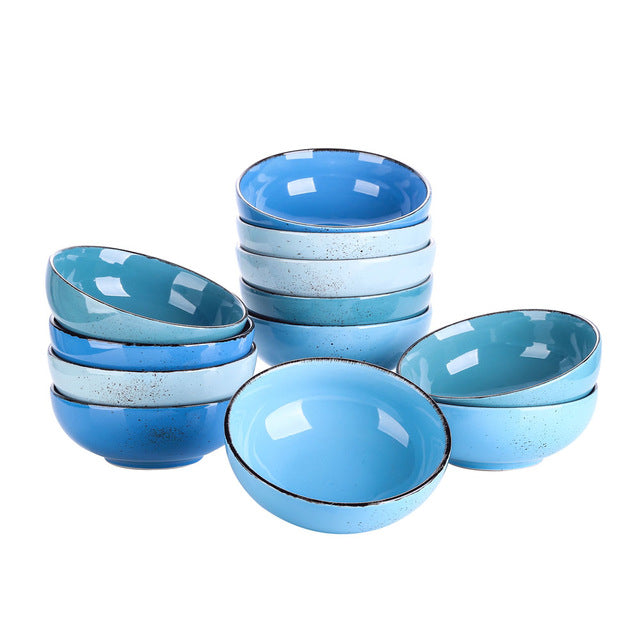 Vancasso Navia Vintage Blue 4/8/12-Piece 4-colors 800ML Large Cereal Bowls Set Ceramic Soup/Mixing/Fruit/Noodle/Ramen Bowl Set - Home To Home Store
