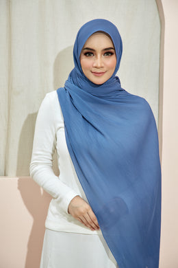 PLEATED SHAWL - SMOKEY BLUE