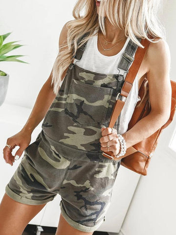 Camouflage Green Sleeveless Casual Pockets Romper