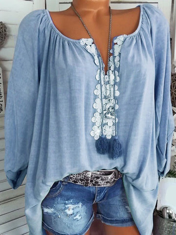 Women Long Sleeve Boho Solid V Neck Plus Size Blouses