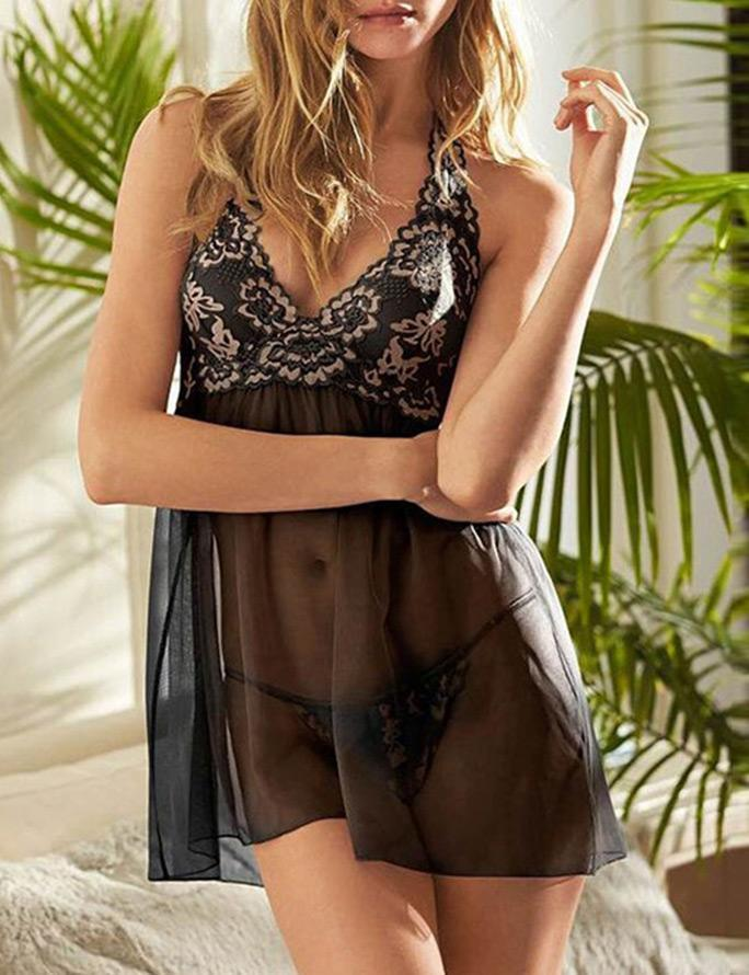 Lace Halter Babydoll & Thong Set