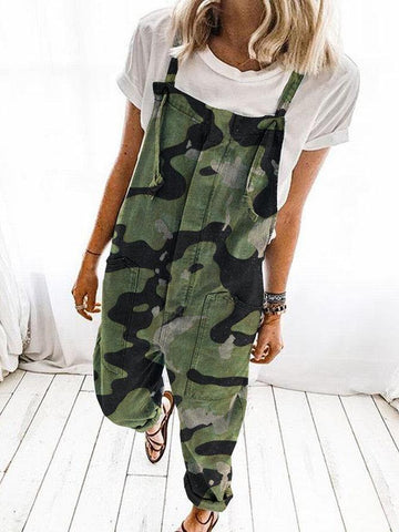 Green Casual Camouflage Pockets Jumpsuit