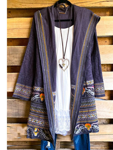 Blue Long Sleeve Hoodie Cotton-Blend Geometric Vintage Outerwear