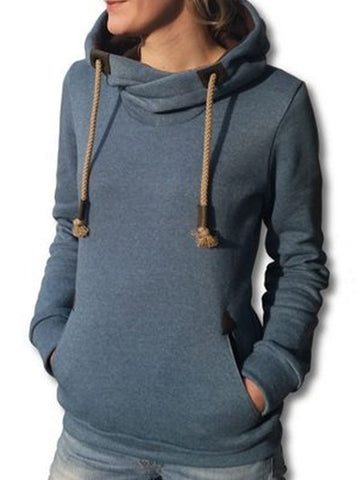 Spring/Fall Navy Blue Printed Long Sleeve Cotton-Blend Casual Hoodies