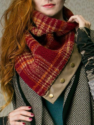 Women's Wool Blend Casual Red Scarf