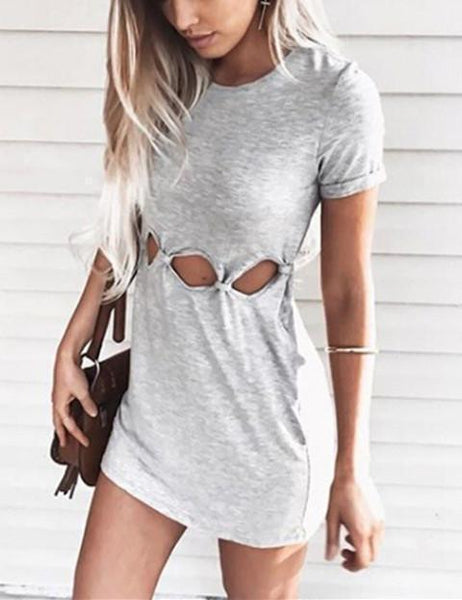 Round Neck Short Sleeve Hollow Out Bodycon Dress