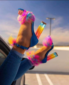 Colorful Stylish Fur Heel Sandals High-end Customized Shoes
