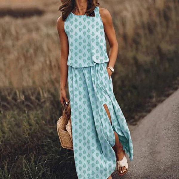 Waterdrop Print Split Maxi Dress