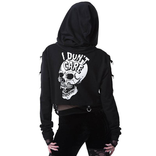 Mesh  Printed Double-layered Skull Hoodies