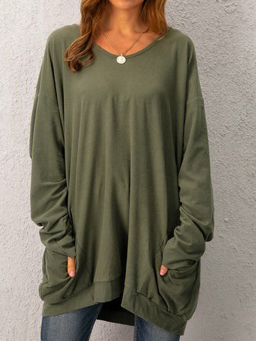 Casual Pockets Long Sleeve Solid Tops Tunics