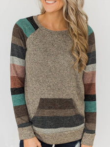 Women Gray Floral-Print Stripes Crew Neck Casual Sweatshirt