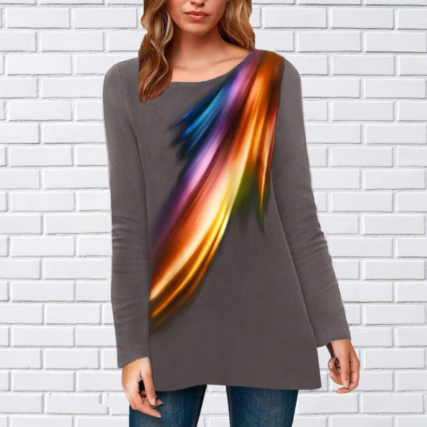 Round neck printed top loose long sleeve T-shirt