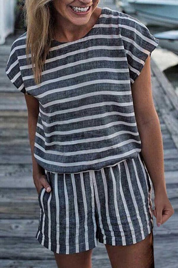 Striped Loose Romper