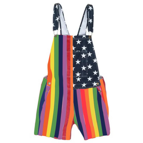 Rainbow Print overalls Denim Shorts