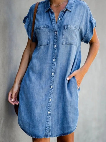 Blue Shirt Collar Plain Short Sleeve Denim Dresses