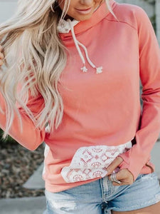 Women Patchwork Hoodie Casual Long Sleeve Cotton-blend Sweatshirts