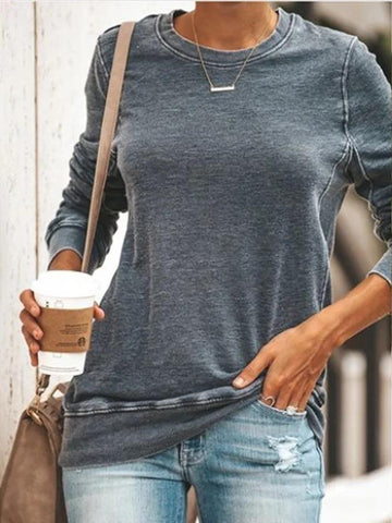 Women Gray Casual Round Neck Solid Shirts & Tops