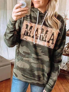 Women's Camouflage Hoodies Floral-Print Long Sleeve Cotton-Blend Sweatshirt