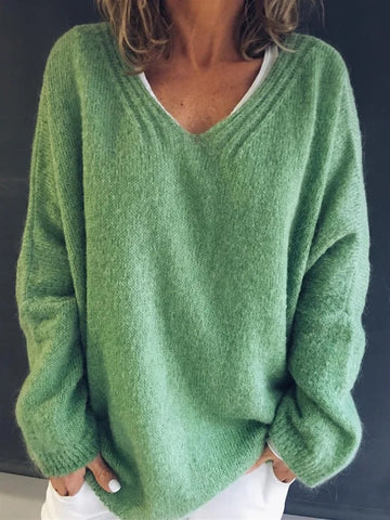 Women's Plus size Knitted Green Fall Sweater