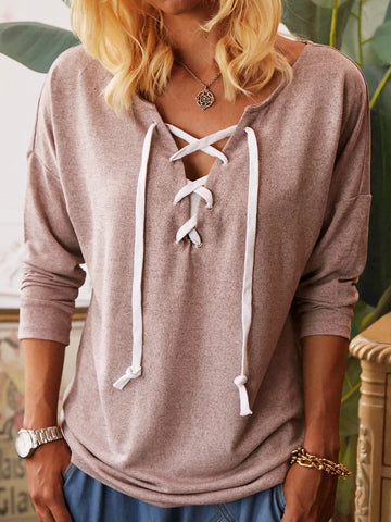Pink Long Sleeve Solid Shirts & Tops