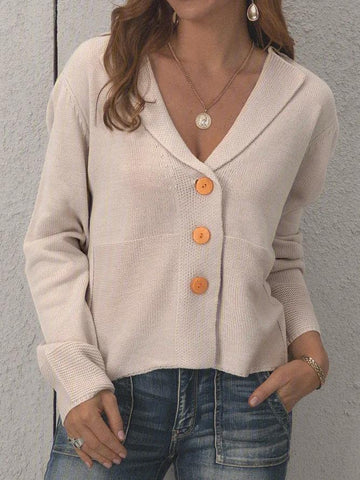 Beige Cotton-Blend Casual Sweater Cardigans