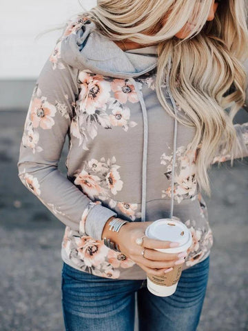 Women's Hoodies Floral-Print Cotton-Blend Casual Long Sleeve Sweatshirt