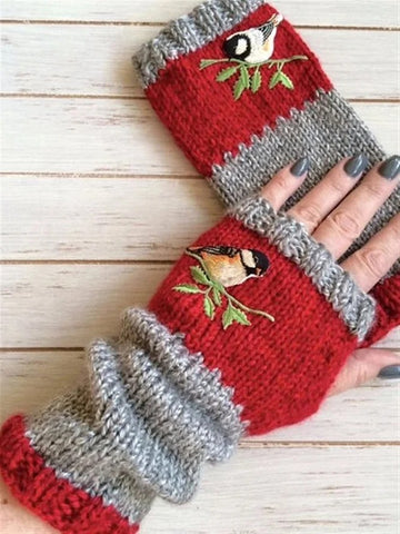 Autumn Winter Casual Basic Flora Knitted Bird Pattern Sweet Gloves