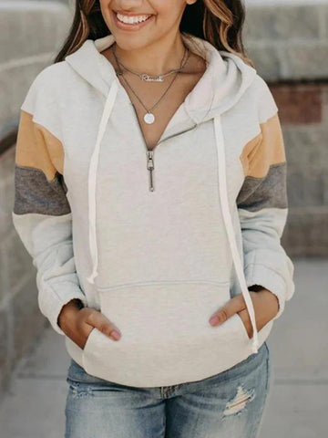 Women's Hoodies Apricot Casual Color-Block Sweatshirt