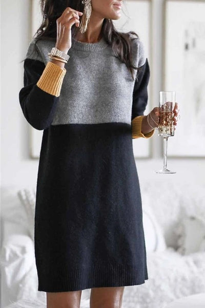 Loose Round Neck Paneled Dress