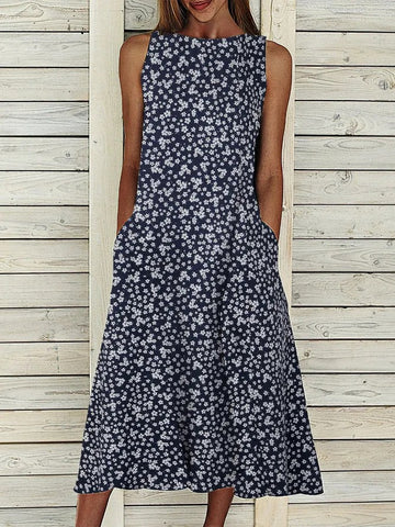 Floral Pockets Maxi Dress Summer Sleeveless Dresses