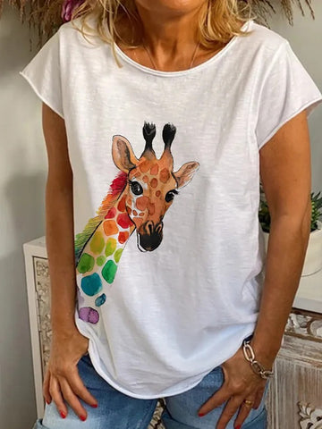 Women's White Short Sleeve Animal Crew Neck Shirts & Tops