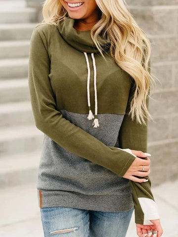 Women's Army Green Hoodies Patchwork Cowl Neck Casual Sweatshirt